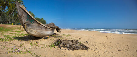 Fishing boat on the beach and palm trees in the background, Kerala, India 2010 photo