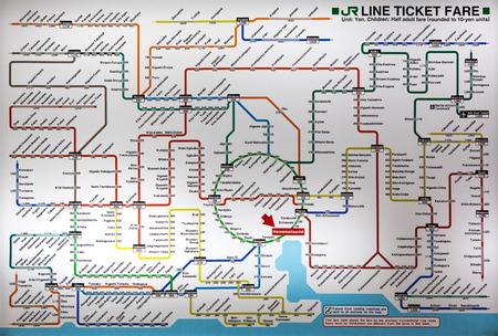 TOKYO, JAPAN, DECEMBER 31  latest version of the Tokyo metro map  Japan 2012