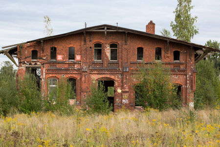 Ruined and abandonned industrial building in Gdansk Shipyard area Stock Photo