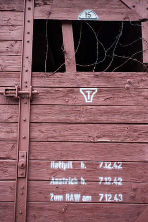 Detail of the historical train at Radegast Station in Poland - the memorial of Jews from Lodz who died during the war. It was built during World War II just beyond the boundary of the Lodz Ghetto to serve as the ghettos main transport link to Auschwitz d