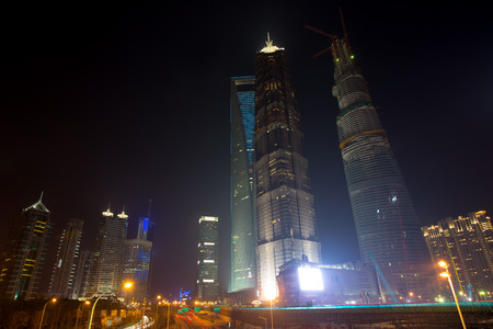 huang pu: View of the the buildings located in Pudong at night, taken with long time exposure