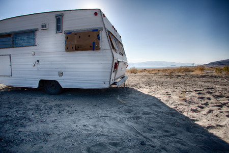 Vintage weathered trailer in the Desert of Nevada  United States