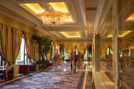 LAS VEGAS, NV, SEPTEMBER 12: The Bellagio Casino hallway with luxury decoration - Las Vegas, Unites States 2012