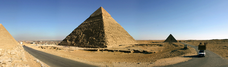 chephren: Egypt. Cairo - Giza. General view of pyramids from the Giza Plateau (three pyramids known as Queens Pyramids, in background: the Pyramid of Menkaure Mykerinos, Khafre Chephren and Chufu Cheops)