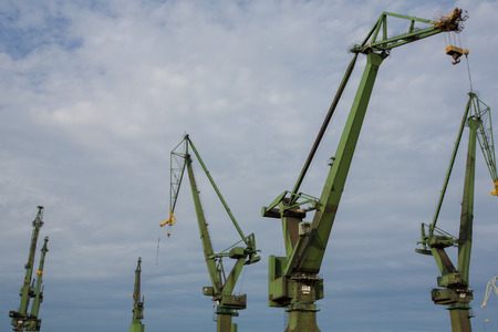 Industrial view massive cranes in the Shipyards in Gdansk, Poland  photo