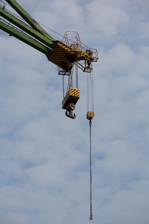 Detail of an industrial massive crane hook in the Shipyards in Gdansk, Poland. photo