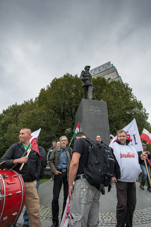 occurrence: WARSAW, POLAND, SEPTEMBER 11: Unidentified Trade unionists during a demonstration the first day of the Polish national days of protest in Warsaw. Poland 2013. Editorial