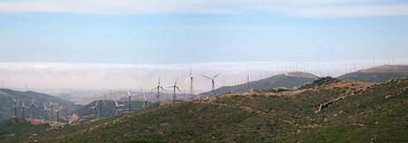 tarifa: Panorama of Tarifa wind mills with blue sky, south of Spain. Stock Photo