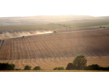 cotswold: Combine Harvester harvesting wheat in the South of England, close to Brighton Stock Photo