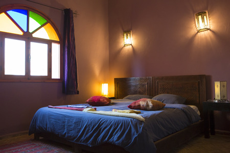 berber: Beautiful authentic arabic bedroom in a traditional Moroccan riad (guesthouse). Essaouira, Morocco