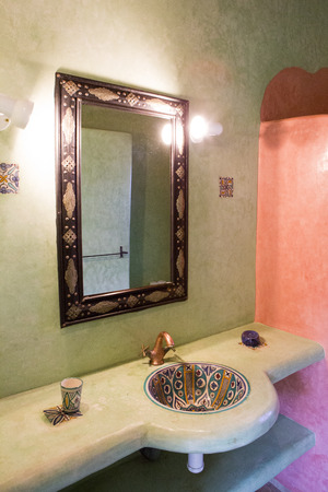 Moroccan Themed Spa And Bathroom In Morocco. View Of The Sink ...