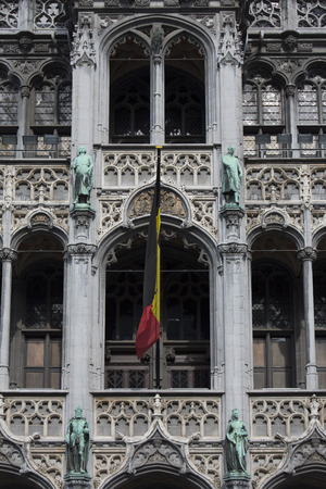 Classical architecture on the Grand Place or Grote-Markt is the central square of Brussels. It is surrounded by opulent guildhalls and two larger edifices, the the citys Town Hall, and the Bread house building containing the Museum of the City of Brussel
