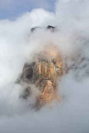 vena: Kerepakupai Vena or Angel Falls, Salto Angel in the clouds. The worlds highest waterfalls. Bolivar State. Venezuela,