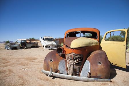 wrecks: Vintage Car Wrecks at Solitaire Town, Sossusvlei in the Namib Desert, Namibia, Africa