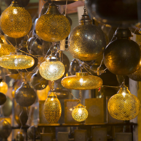 merchandise: Moroccan glass and metal lanterns lamps in Marrakesh souq Stock Photo