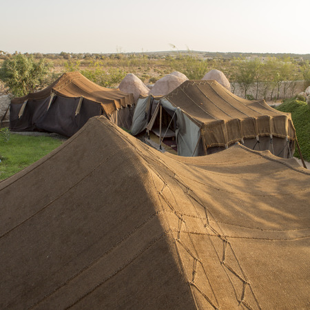 bedoin: Camp of bedoin tents in Essaouira in Morocco Stock Photo