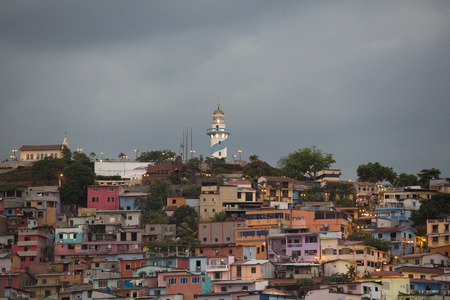 guayaquil: Panoramic photo of Las Peñas - the oldest area of Guayaquil city at sunset, South Ecuador 2015.