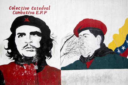 che guevara: CARACAS, VENEZUELA, APRIL 20: Graffiti of Hugo Chavez President with Che Guevara designed by unknown artist on a white wall in Caracas city. Venezuela 2015.