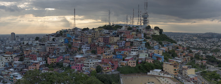 guayaquil: Panoramic photo of Las Peñas - the oldest area of Guayaquil city at sunset, South Ecuador 2015. Stock Photo
