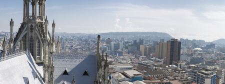Panorama of the The Basilica del Voto Nacional, a Roman Catholic Church and the city of Quito. This is the largest Neo-Gothic basilica in the Americas. Quito, Ecuador 2015