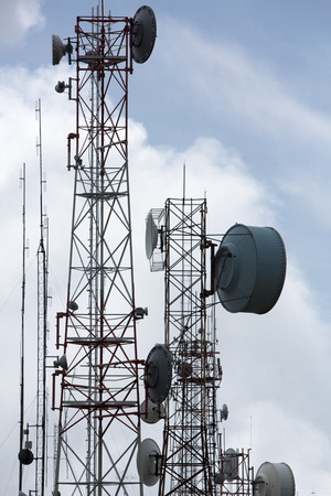 parabola: Group of modern antennas with flat parabola in Quito near by mountain. Stock Photo