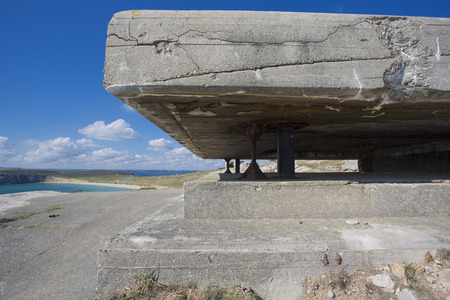 german ocean: Panorama of a German bunker from the Second World War and the Atlantic Ocean. At the the Pointe de Pen Hir in Brittany. France.