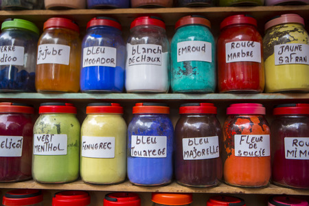 labelled: Jars of herbs and powders in a Moroccan spice shop in Essaouira, Morocco