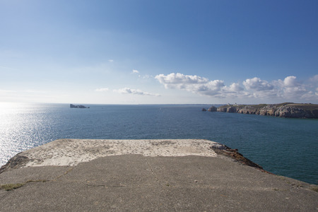german ocean: View of the Atlantic Ocean from a German bunker from the Second World War. At the the Pointe de Pen Hir in Brittany. France.