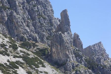 dolomite: Dolomite peaks, mountains and blue horizon near la Valle Agordina in the Dolomites, Italy.