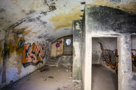 nazi: Interior of a Nazi Germany fortification system. At the the Pointe de Pen Hir in Brittany. France. Stock Photo