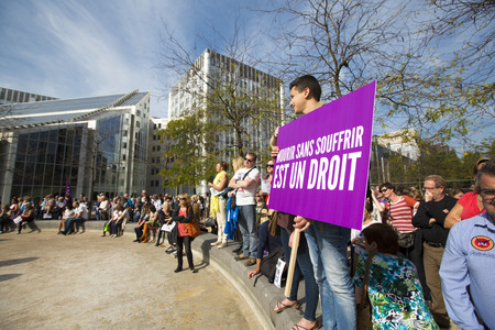 tribulation: BRUSSELS, BELGIUM, SEPTEMBER 28: Belgian Gaia activists protest on the streets of Brussels on September 28, 2014 against slaughter without stunning. Support of people to petition for stunning animals before slaughter so they are unconscious before being k Editorial