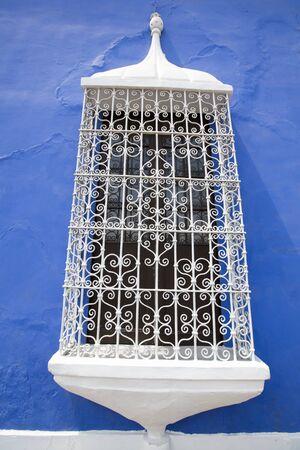peru architecture: Blue colonial architecture in the historic center of Trujillo, Peru Stock Photo