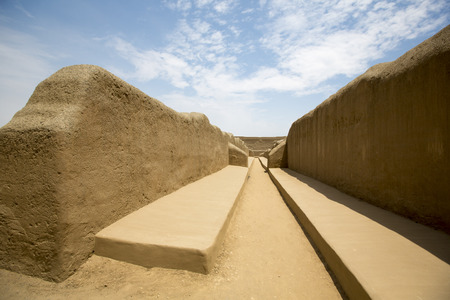 apogee: Remains of the archeological city of Chan Chan in Trujillo. Peru. The city used to be the capital of the Chimu Kingdom which reached its apogee in the 15th Century.  Stock Photo