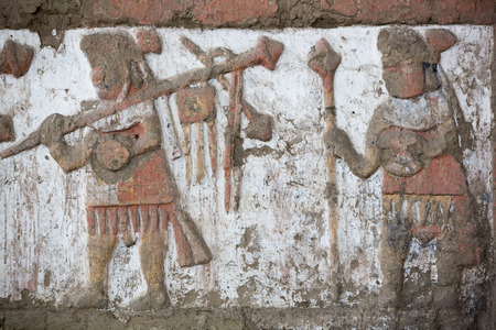 Details of an ancient fresco in Huaca de la Luna in Trujillo, Peru Sajtókép
