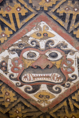 LUNA: Details of an ancient fresco in Huaca de la Luna in Trujillo, Peru Editorial