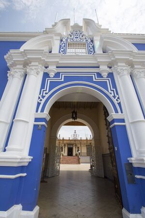 peru architecture: Blue colonial architecture in the historic center of Trujillo, Peru Stock Photo