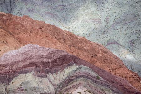 colores: Cerro del los Siete Colores (Hill of Seven Colors) over Purmamarca village (Quebrada de Humahuaca valley), Argentina