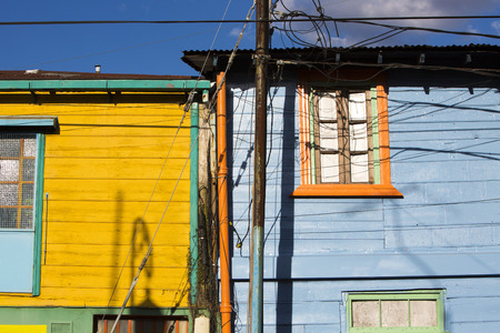 la boca: Detail of colorful Caminito architecture in the La Boca neighborhood of Buenos Aires, Argentina Stock Photo