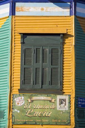la boca: Detail of colorful Caminito architecture in the La Boca neighborhood of Buenos Aires, Argentina Stock Photo
