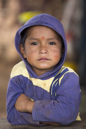 SANTA ELENA, VENEZUELA, MARCH 31: Unidentified portrait of young kid looking at the camera. Venezuala 2015. Editorial