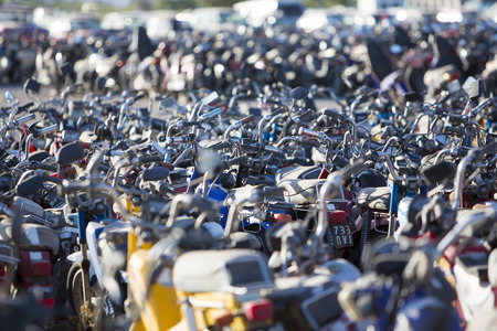 SAN JUAN, ARGENTINA, DECEMBER 4: Huge motorbikes and scooters parking at the exit of San Juan. These vehicles have been confiscated by the police. North of Argentina 2015.