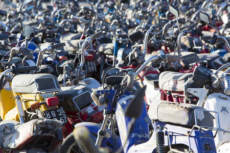 confiscated: SAN JUAN, ARGENTINA, DECEMBER 4: Huge motorbikes and scooters parking at the exit of San Juan. These vehicles have been confiscated by the police. North of Argentina 2015.