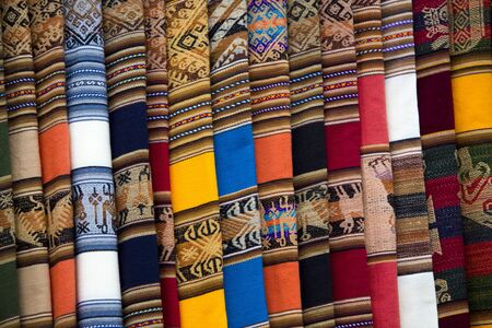 artisanry: Colored blankets for Sale in Salar of Uyuni tourist market. Bolivia