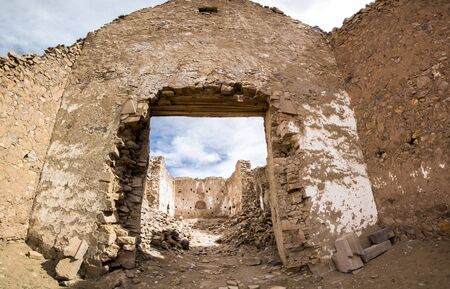 lipez: Abandoned and decaying church in San Antonio ghost village at the footstep of San Antonio volcano in the Bolivian altiplano.