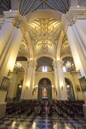 plaza de armas: Baroque interior of the cathedral on the Plaza de Armas in Lima. Peru 2015 Editorial