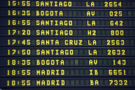 departures board: Black airport departures board with mainly flights to cities in South America and south Europe. Airport of Lima. Peru Stock Photo