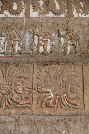 fresco: Details of an ancient fresco in Huaca de la Luna in Trujillo, Peru Stock Photo