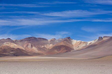 avaroa: Colored mountains in the Atacama desert with blue sky in Eduardo Avaroa Andean Fauna National Reserve, Bolivia Editorial