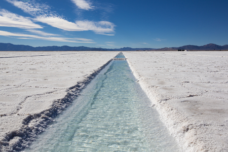 Panorama of a the Salinas Grande against a blue sky, a huge salt field in Jujuy Province, north of Argentina. Standard-Bild