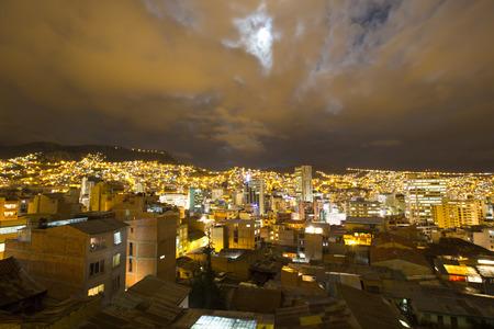 la paz: LA PAZ, BOLIVIA, JANUARY 3: Aerial view of La Paz at night, illuminated by thousands of lights capital of Bolivia. Bolivia 2015